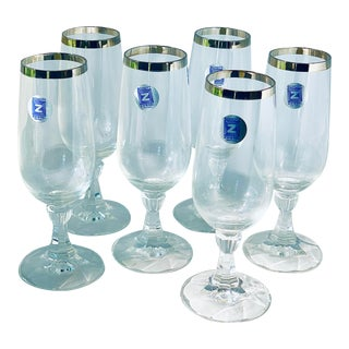 Vintage 'Schott-Zwiesel' Platinum Trim Crystal Champagne Flutes- Set of 6 For Sale