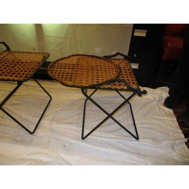 French Iron Beach Chairs With Cane Seats - A Pair - Image 5 of 11