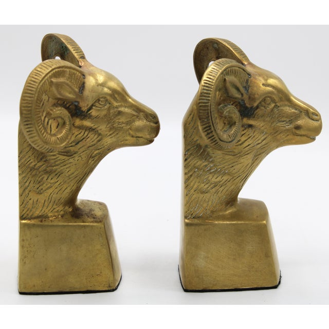 Hollywood Regency Brass Ram Head Bookends - a Pair For Sale - Image 6 of 9