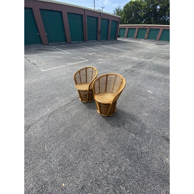 Vintage Coastal Rattan Side Chairs - a Pair For Sale In Miami - Image 6 of 7