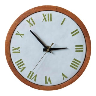 Vintage Stoneware Mahogany Wall Clock For Sale