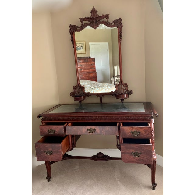 Vanity - Five Drawer - 51W x 32H x 20D Vanity Mirror - 33W x 47H x 4D Bench - 25W x 28.5H x 20 D This piece of furniture...