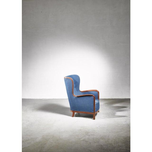 Mid-Century Modern Frits Henningsen Wingback Chair, Denmark, 1940s For Sale - Image 3 of 7
