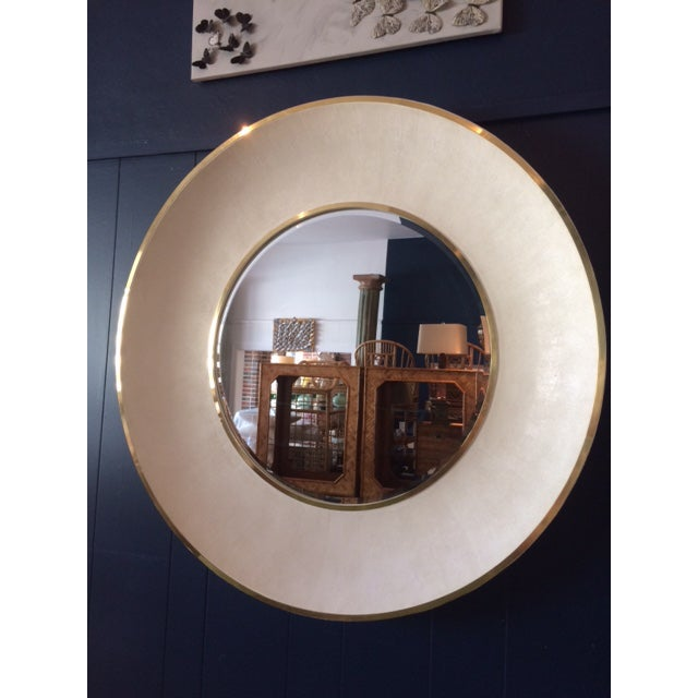Large Modern Round Shagreen-Style Mirror For Sale - Image 12 of 13