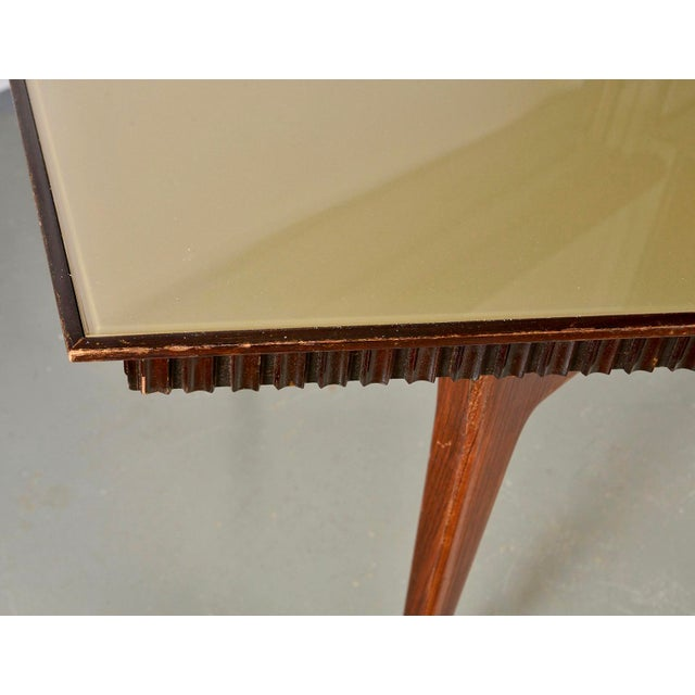 Mid-Century Italian Dining Table With Green Glass Top and Fluted Edge For Sale - Image 4 of 11