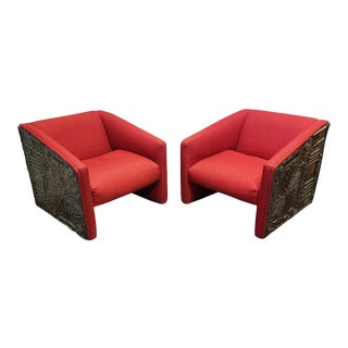 Adrian Pearsall 1970's Brutalist Club Chairs a Pair For Sale