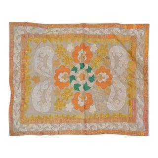 Uzbeki Ivory & Yellow Cotton Suzani Textile - 2'9″x3'3″ For Sale