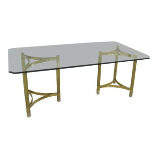 Hollywood Regency Italian Brass & Glass Dining Table