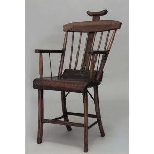 Wood American Country (19th Cent) Stained Pine Arm Chair With Spindle Back and Adjustable Headrest For Sale - Image 7 of 7
