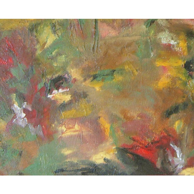 "2010s ""Meadowscape"" Original Abstract Floral Landscape Painting - Red Green Yellow Wall Art Decor For Sale - Image 5 of 6"