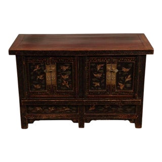 Chinese Gilt Decorated Black and Polychrome Lacquered Cabinet or Sideboard For Sale