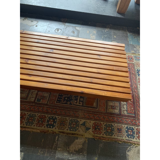 1960s Vintage Mid Century Low Wood Slat Bench For Sale - Image 5 of 6