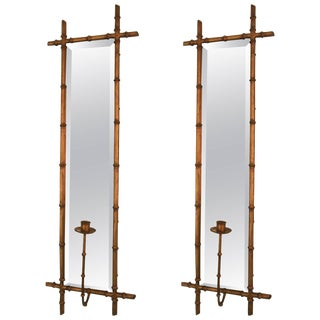 Hollywood Regency Faux Bamboo Wall Sconces - a Pair For Sale