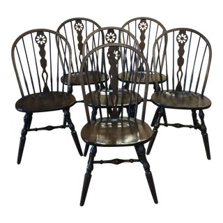 "Vintage ""Hale of Vermont"" Maple Windsor Chairs - Set of 6"