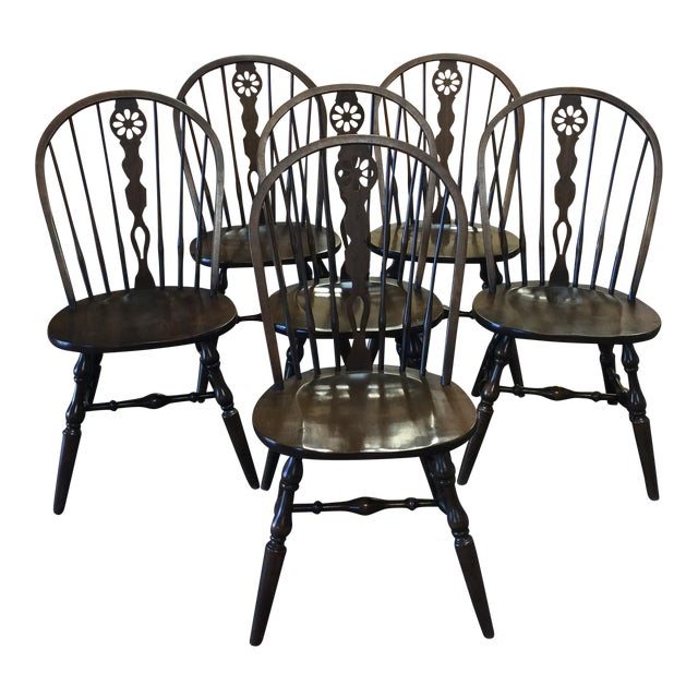 "Vintage ""Hale of Vermont"" Maple Windsor Chairs - Set of 6 For Sale - Vintage ""Hale Of Vermont"" Maple Windsor Chairs - Set Of 6 Chairish"