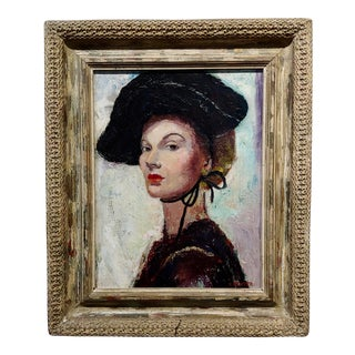 C. Dexter Portrait of a Stylish Woman With Black Hat Oil Painting For Sale