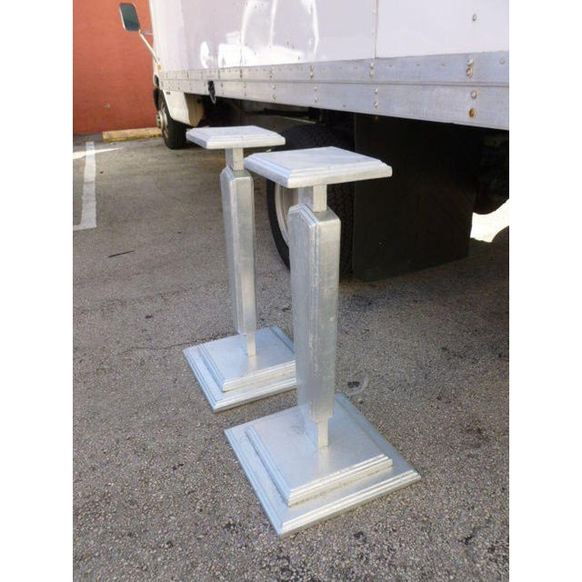 1930s Vintage Silver Leafed Art Deco Wood Pedestals - A Pair For Sale In Miami - Image 6 of 12