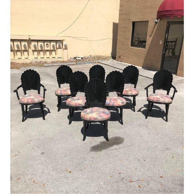 Art Deco 1940s Vintage Italian Ebonized Venetian Grotto Shell Back Dining Chairs- Set of 8 For Sale - Image 3 of 13