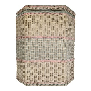 1960s White-Washed Natural, Pink and Mint Striped Octagonal Wicker Clothes Hamper With Braided Trim For Sale