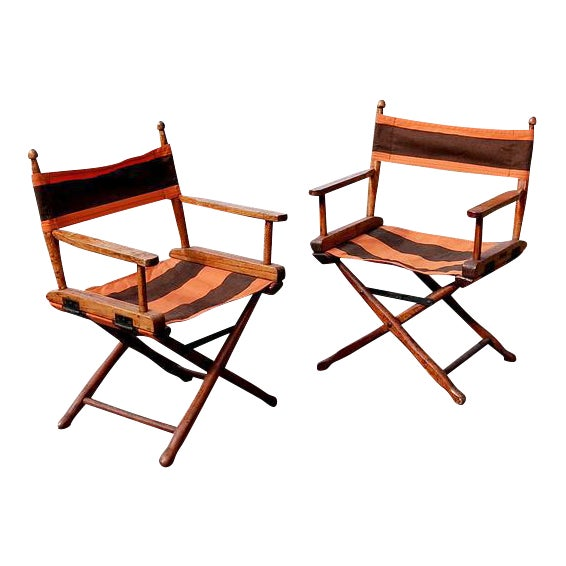 Gold Medal Manufacturing Company Director's Chairs - A Pair For Sale