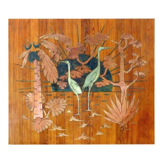 1940s Gustav Bohland Mixed Metals Tropical Wall Sculpture For Sale