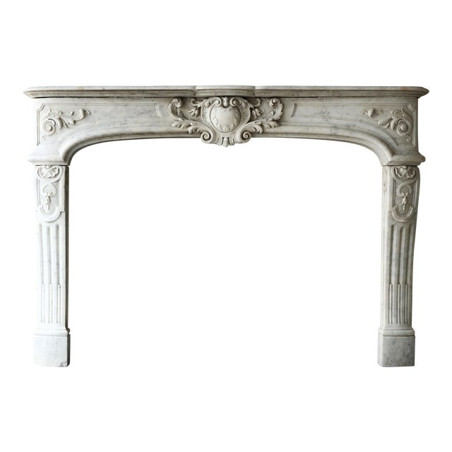 19th Century, Louis XIV Style, Antique Fireplace of Carrara Marble For Sale