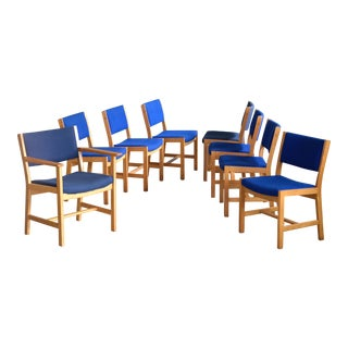 Set of 8 Danish Hans Wegner Oak Dining Chairs for Getama For Sale