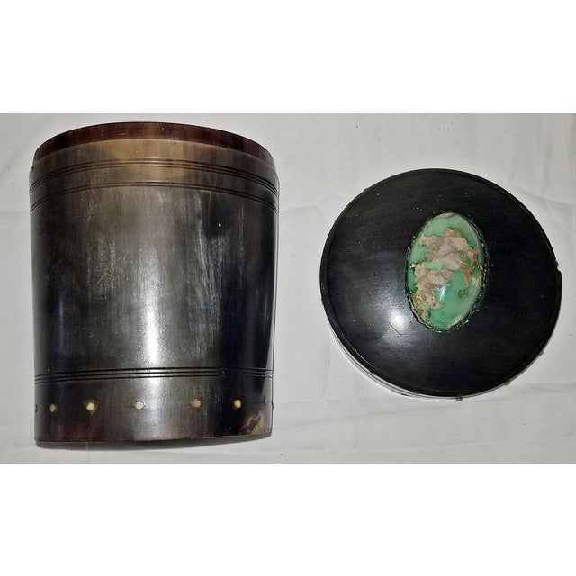 Green 18c Scottish Horn and Polished Stone Tea Caddy For Sale - Image 8 of 12