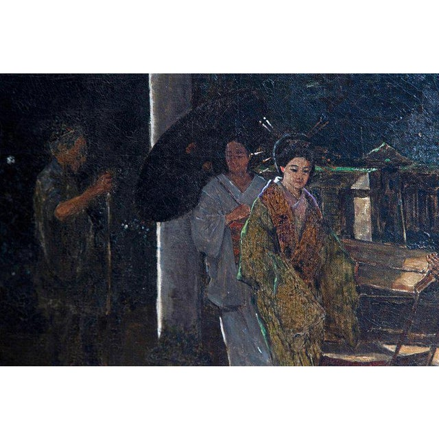 "Gray Late 19th Century Francis Neydhart Oil on Canvas ""A Courtyard Ceremony, Nikko"" For Sale - Image 8 of 13"