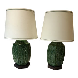 Chinoiserie Kelly Green Lamps - a Pair For Sale