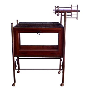 Early 20th Century Antique Mahogany & Brass Bar Cart For Sale