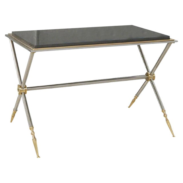 Contemporary Brass/Black Granite Cocktail Table For Sale