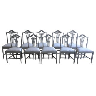 19th Century Swedish Gustavian Style Dining Chairs - Set of 10 For Sale
