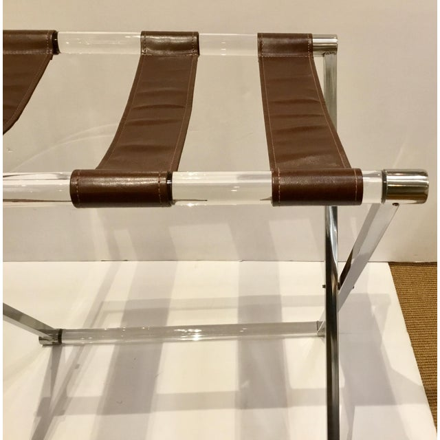 Contemporary Modern Leather and Lucite Luggage Rack For Sale - Image 3 of 5