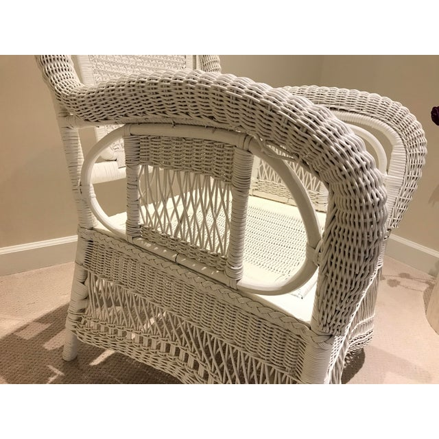 White Antique Scrolled Back Wicker & Cain Armchair - Image 7 of 7