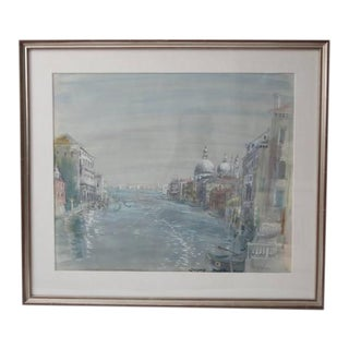 Early 20th Century Antique Cecil Beaton Grand Canal of Venice Watercolor Painting For Sale