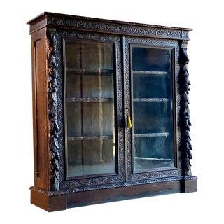 1870 Antique Victorian Gothic Green Man Oak Bookcase For Sale