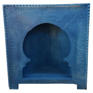 Moroccan Carved Wooden Corner Unit Cabinet For Sale