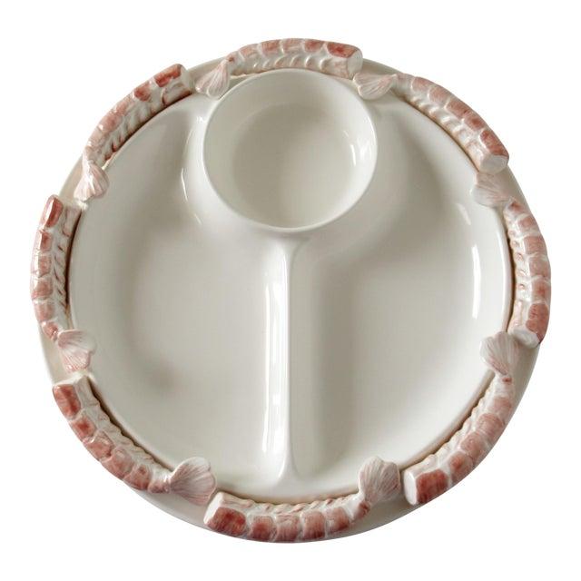 Vintage Mid-Century Trompe l'Oeil Porcelain Ceramic Shrimp Cocktail Server Platter For Sale