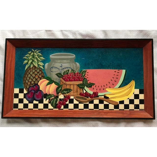 "Large 29.25"" by 15.75"" tray hand painted with fruit. Signed by the artist. Only very light wear."