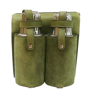 Mid Century Gucci Double Thermos Travel Set With Suede Carry Bag- 3 Pieces For Sale
