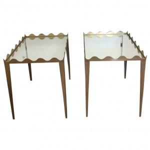 Margo End Table with Mirror Top. Available in, antique gold leaf, Champagne Silver Leaf, Gold Leaf and Custom Lacquer