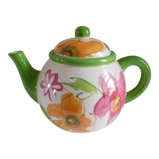Charming Vintage Ceramic Floral Teapot For Sale