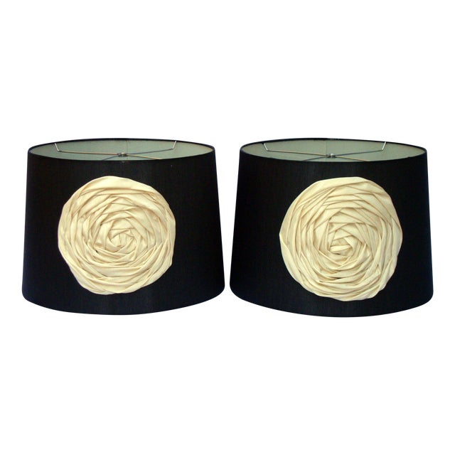 Modern Deco Glam Black Silk Floral Lampshades - Image 1 of 9