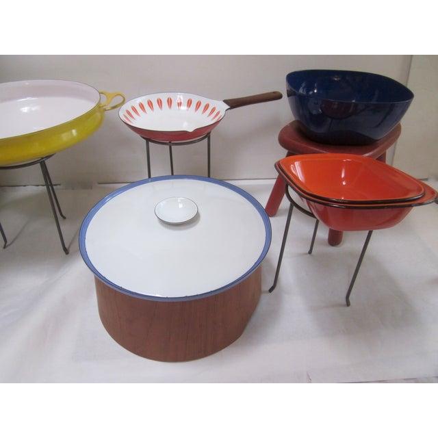 Large Teak Swedish Enamel Pot, Cathrineholm Style For Sale - Image 9 of 11