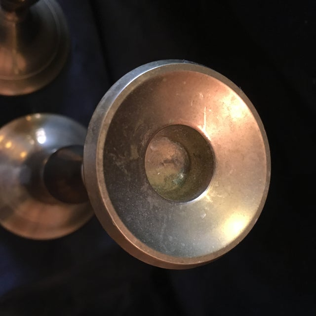 Vintage Brass Candle Sticks - a Pair For Sale - Image 4 of 7