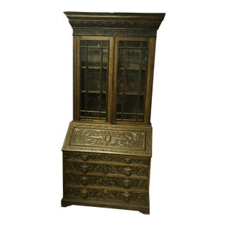 Deeply Carved Victorian Secretary Hutch