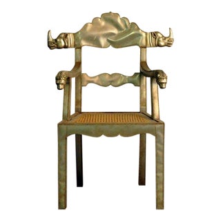 Pair of Silvered Metal Rhinoceros and Lion Maharaja Style Armchairs For Sale