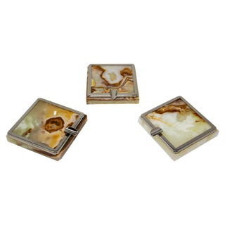 Vintage Set of Three Onyx Ashtrays With Metal Accent, 1960, Made in Italy For Sale