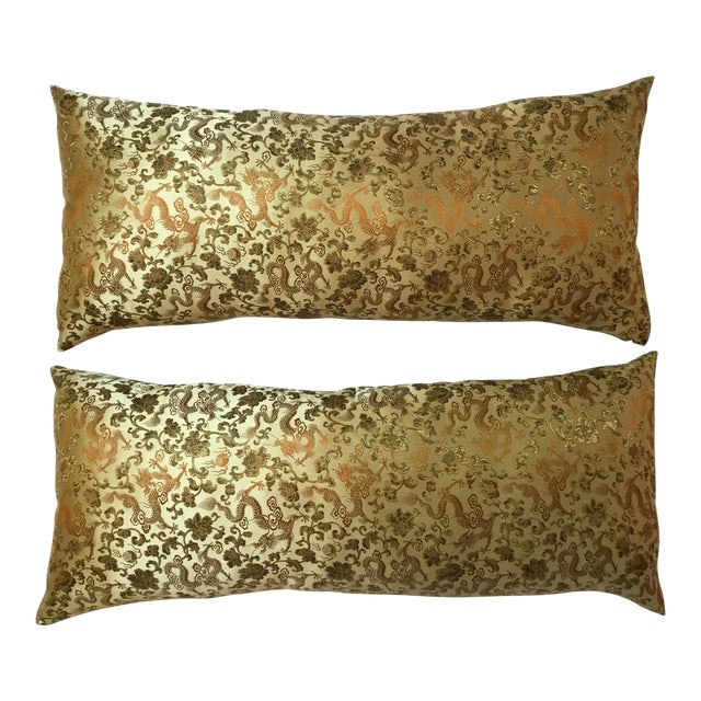 Chinese Silk Pillows - A Pair - Image 2 of 12